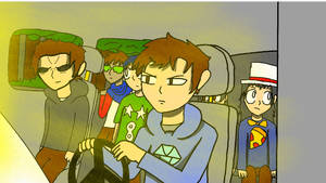 The gang is driving to go kick some ass