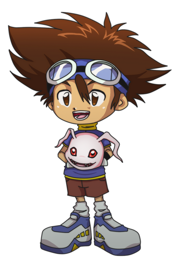 Chibi Taichi with Koromon by Deko-kun