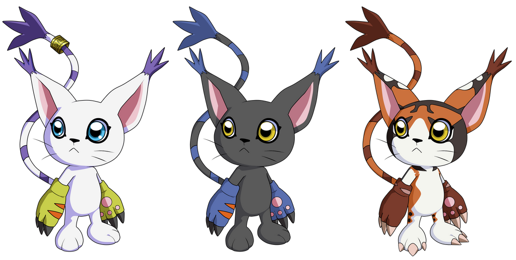 Tailmon And Black Tailmon And Mikemon 2015 By Deko Kun On