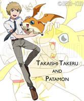Dtri. - Takaishi Takeru and Patamon by Deko-kun