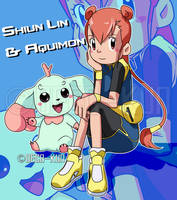 Digimon Parallel: Shiun Lin and Aquimon by Deko-kun