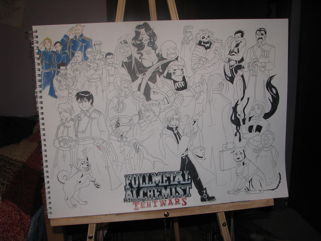 Fullmetal Alchemist: Tentwars poster colour WIP by fluffpuffgerbil