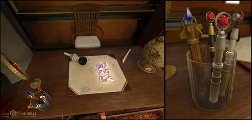 Custom TARDIS mark 3 - Office side desk detail by ginovanta