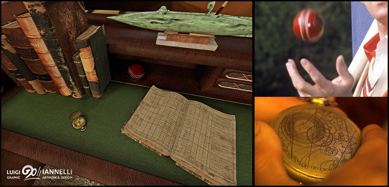 Custom TARDIS mark 3 - Library side desk detail by ginovanta