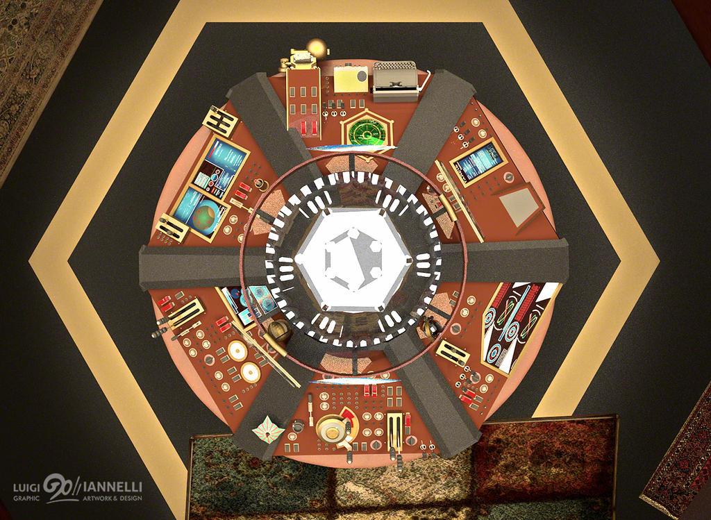 Custom TARDIS Console Room mark 3-Console from top by ginovanta