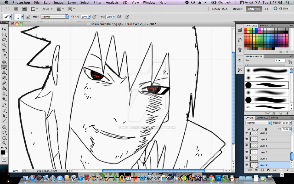 Uchiha Sasuke Wip First Time Drawing Anime Style By