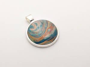 Acrylic Pour Pendant #001 Copper and Blues