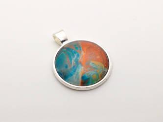 Acrylic Pour Pendant - #014 Rain and Rust