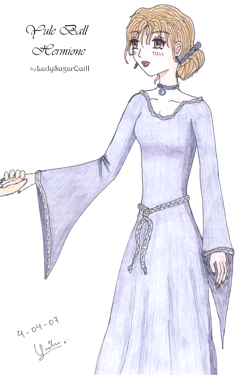 Yule Ball Hermione color by ladysugarquill