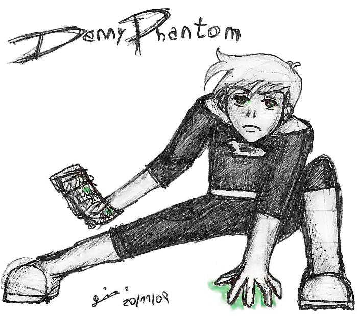 Danny Phantom pen sketch by ladysugarquill