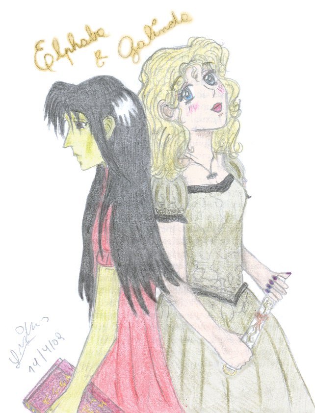Wicked - Elphaba and Galinda by ladysugarquill