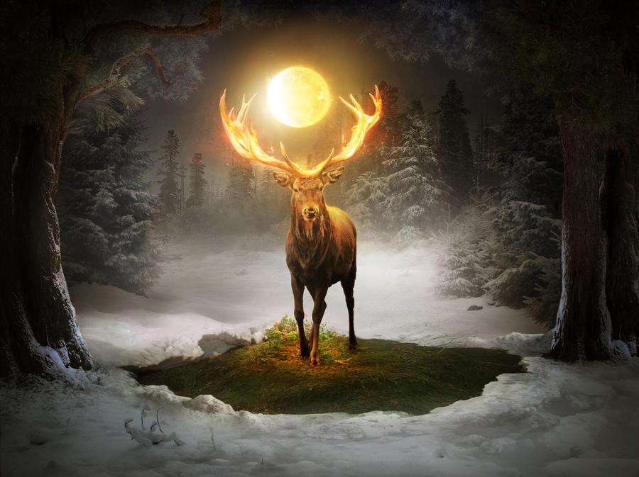 Fire deer by ElenaDudina