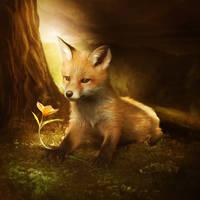 Little fox and the flower by ElenaDudina