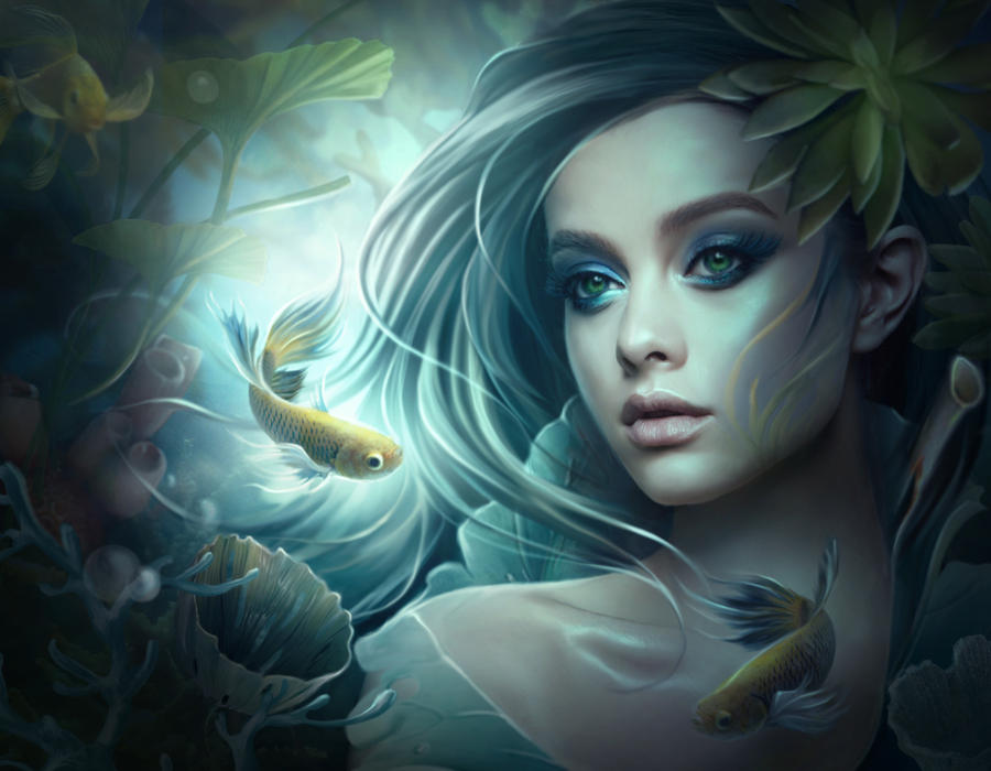 Girl and fishes