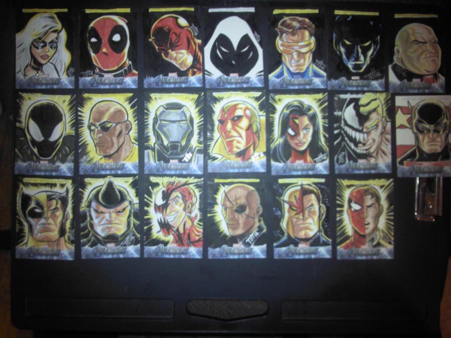 UPPER DECK Marvel Sketch cards Vertical set by Thuddleston