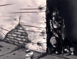 Female Sniper under Fire by EzeKeiL