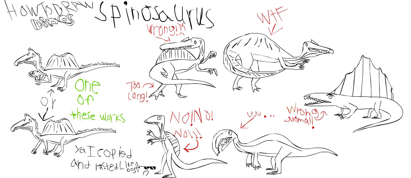 how to draw a spinosaurus from jurassic park