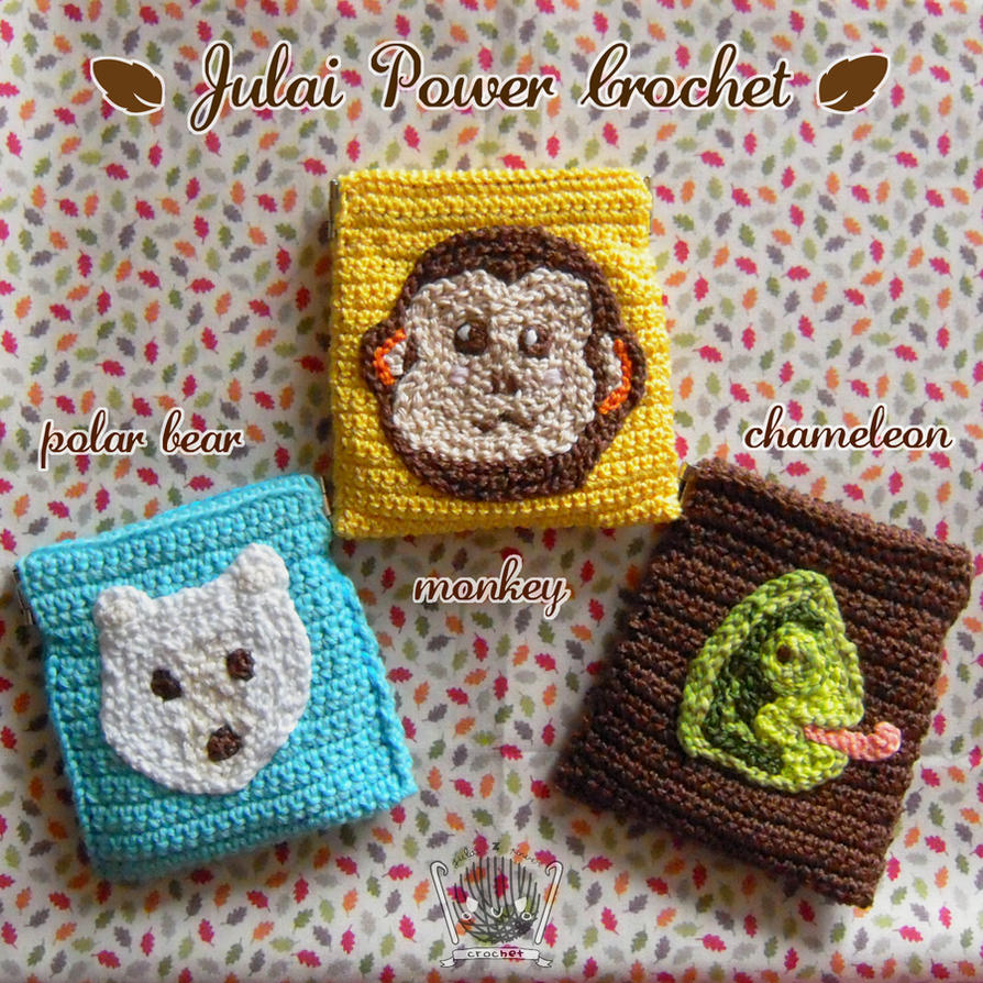 PolarBear,Monkey,Chameleon Animal Crochet Purses by Tofe-lai on ...