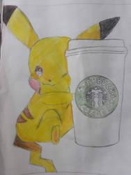 PIKACHUUU with Starbucks by xXoX-Nikki-XoXx