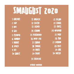 Smaugust 2020 Prompt List