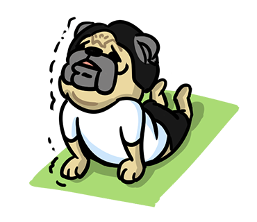 LINE_sticker_japan. yoga_Pug_dog.kawaii. by hei-sho