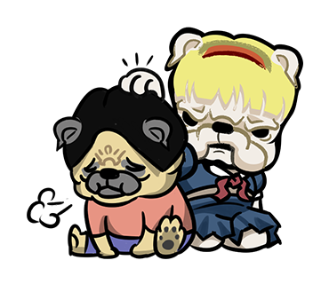 LINE_sticker_japan. bull_Pug_dog.cawaii. by hei-sho