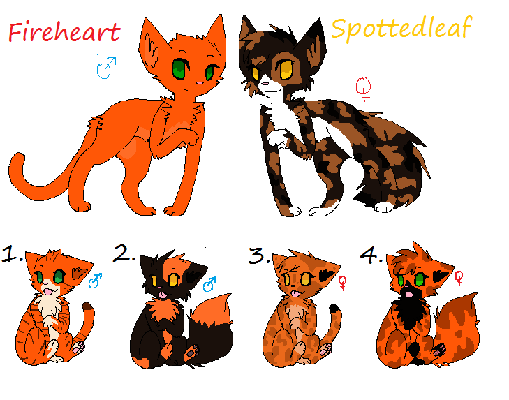 Fireheart x Spottedleaf kits (Closed) by Sukida-Adopts on DeviantArt