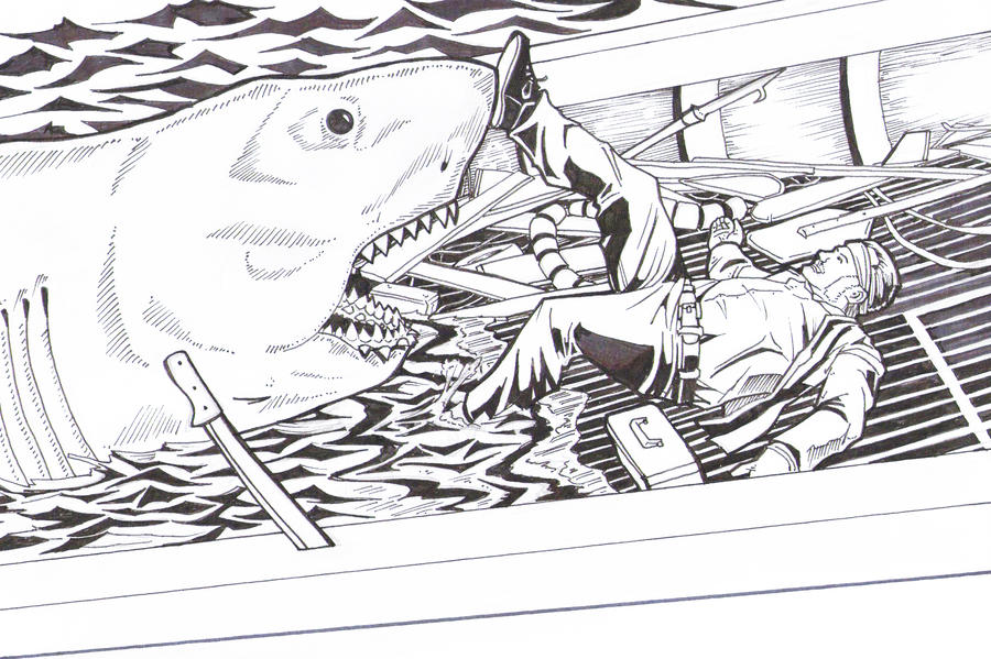 Jaws death of quint by greyfoxdie85 on deviantart for Jaws coloring pages