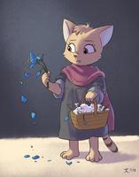 Flower Cat Girl by DeannART