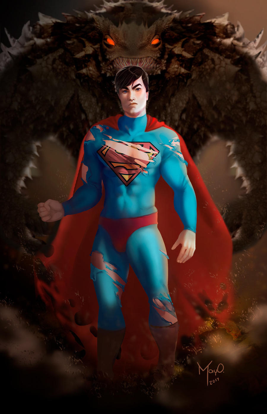 Superman and Doomsday by MayOrnelas