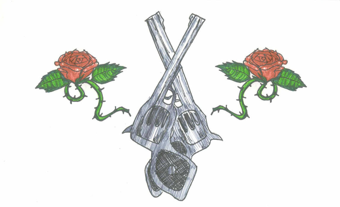 Crossed guns and roses tattoo by CultCartoon on DeviantArt