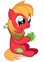 Little Macintosh eating a apple. by Coltsteelstallion