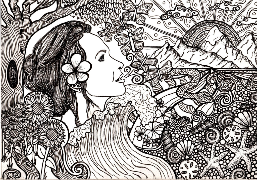 Mother Earth Coloring Book Page By Ambercamiart