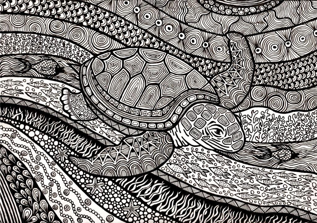 Zentangle Turtle by ambercamiart
