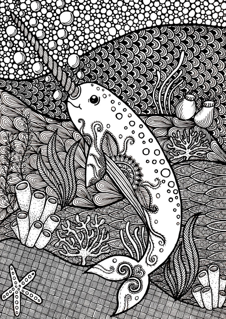 Zentangle Narwhal by ambercamiart
