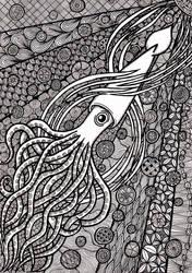 Zentangle Squid by ambercamiart