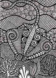 Zentangle Stingray by ambercamiart