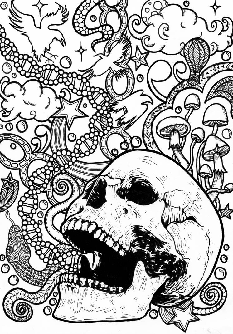 Skull Trip by ambercamiart