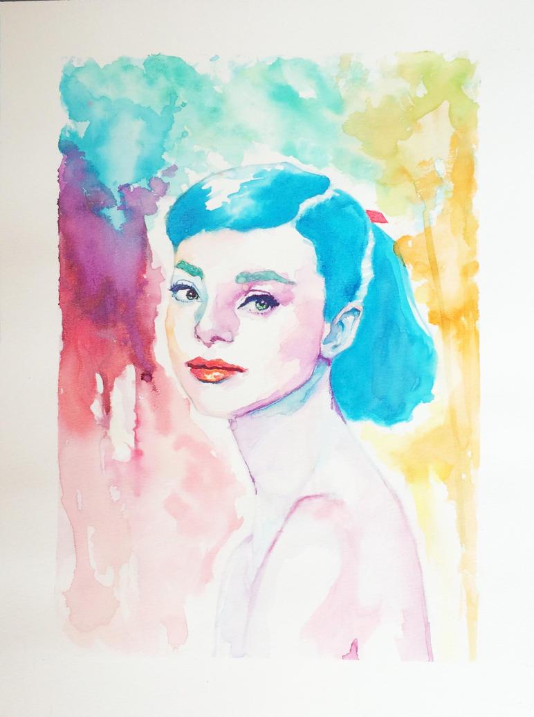 Audrey Hepburn Watercolor by MercurialPixies