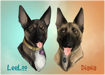 Pet Portraits: LeeLoo and Diana by HeSerpenty