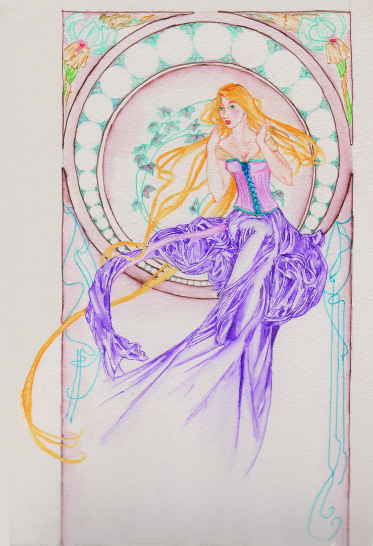 Rapunzel in Mucha Style by fireburner543