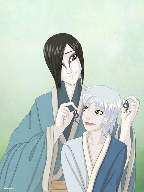 new naruto illustration   mitsuki and orochimaru by morgaer dsqeu