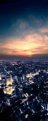 Tokyo Skyline Kakemono by BriceChallamel