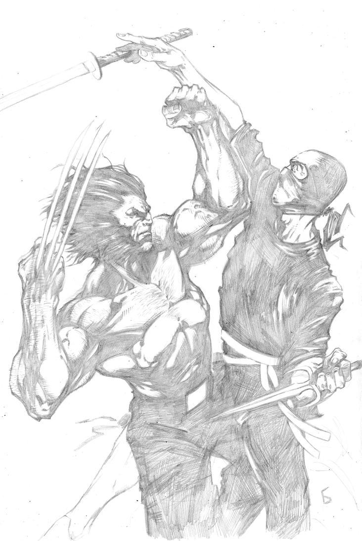 wolverine vs a random ninja... by komus