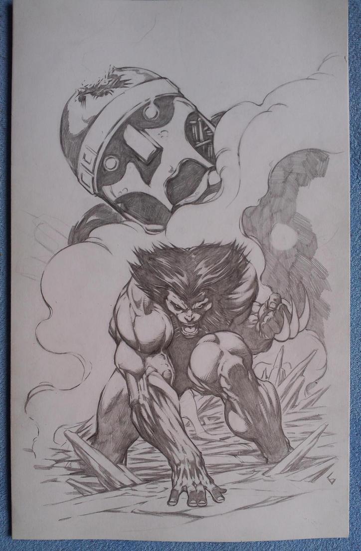 Wolverine vs Sentinel WIP by komus