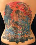 mermaid back piece tattoo by michaelpipertattoo