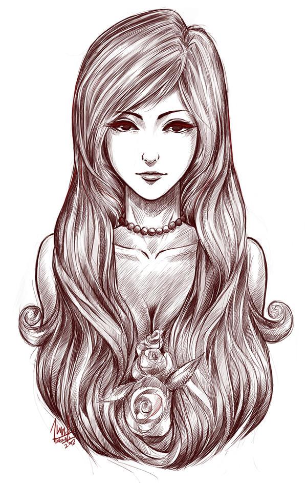 Girl Rose Drawing Www Pixshark Com Images Galleries