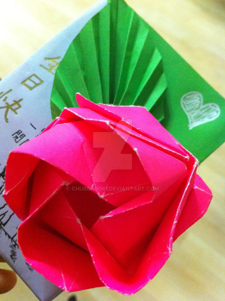 Origami rose birthday card by chubbadoki on deviantart origami rose birthday card by chubbadoki jeuxipadfo Image collections