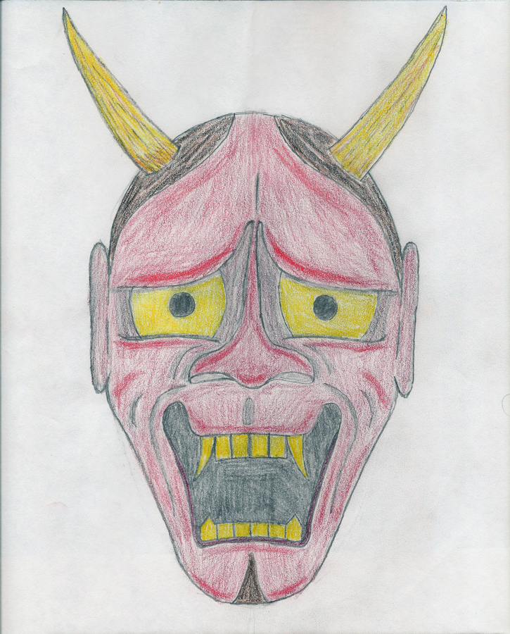 Oni Mask Sketch by kniel187