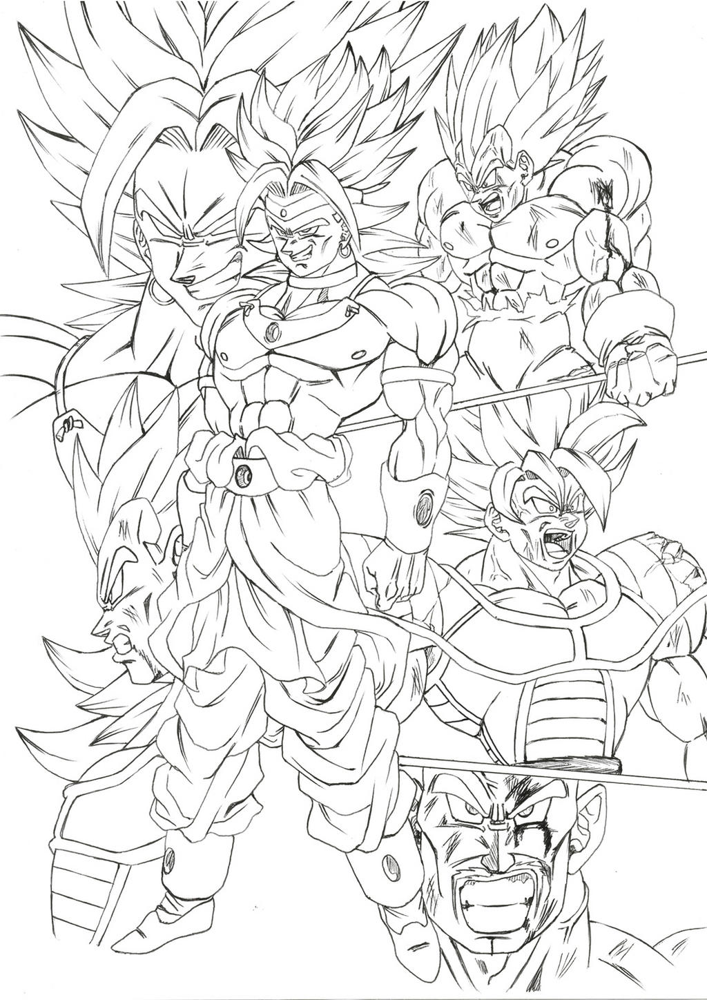 Coloring pages broly vs goku